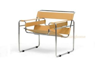 Light Brown Tan Leather Strap Modern Wassily Chair with Chromed Steel Frame