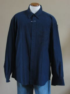 Turnbull ASSER Soft Navy Blue Baby Wale Corduroy Italy Shirt XXL 2XL New