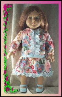 """Doll Clothes Fit 18"""" inch American Girl Molly School Hearts Blue Dress New"""