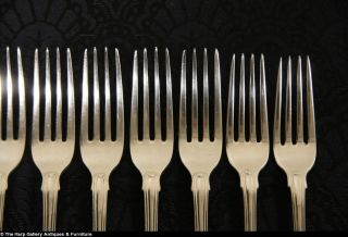 Set of Lunch Size Fiddle Thread Shell Sterling Silver Flatware 32 PC
