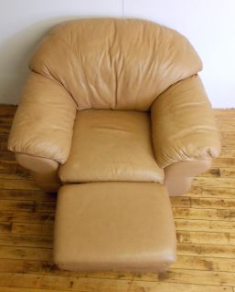 Contemporary Chateau D'AX Tan Italian Leather Chair and Ottoman Butterscotch