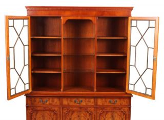 Antique Yew Wood Breakfront Lighted Bookcase Display China Cabinet Lexterten