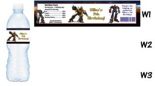 Transformers Printed Water Bottle Labels Birthday Party Favors Supplies
