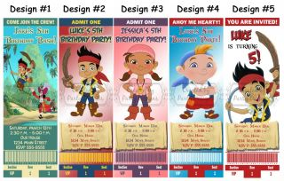 Jake and The Neverland Pirates Birthday Party Ticket Invitations Supplies Favors