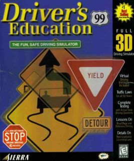 Driver's Education 99 PC CD Learn to Drive Car Driving Test Simulator Laws Game