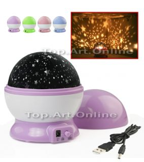 Rotation Starry Star Moon Sky Flashing Romantic Projector LED Night Light Lamp