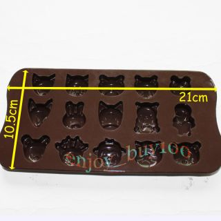 Lovely 15 Animal Shaped Silicone Chocolate Mold Candy Ice Soap Mould Fun Maker