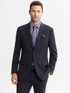Banana Republic Tailored Fit Wool Two Button Navy Suit Blazer 44L Pants 35 36