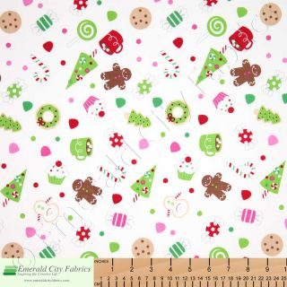 Riley Blake Christmas Candy White Tree Kids Cotton Quilt Quilting Fabric Yardage