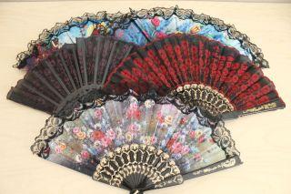 Lot 36 Assorted Chinese Japanese Hand Folding Fans Bamboo Summer Wedding Church