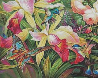 Hummingbird Fantasy Garden Counted Cross Stitch Pattern