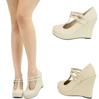 Nude Dual Mary Jane T Strap High Heel Platform Wedge Women Pump Sandal Shoe Sz10