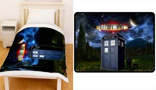 Dr Doctor Who Tardis Blue Police Box Fleece Blanket Large Extra Large