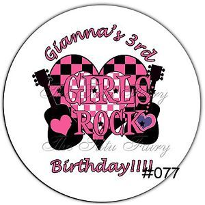 Girl's Rock Star Guitar Girl Birthday Name Stickers Party Favor Invite Labels