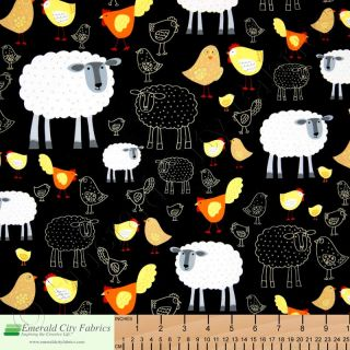 Timeless Treasures Farm Country Chickens Sheep Chicks Cotton Fabric Yardage