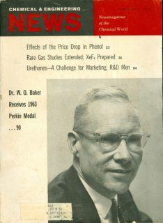 1963 Chemical Engineering News Magazine Dr w O Baker 1963 Perkin Medal