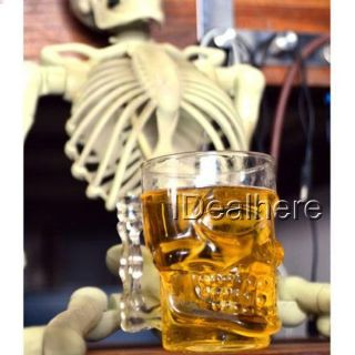 500ml Crystal Skull Head Vodka Shot Glass Beer Cup Drink Ware Home Bar Party