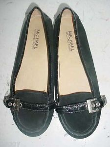 Michael Kors Black Suede Patent Strap Over Flat Loafer Moccasin Shoes 6 M