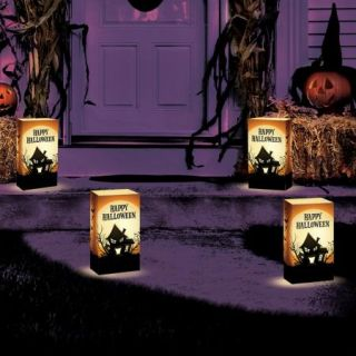 S 12 Haunted House LED Luminary Pathway Lights Outdoor Halloween Decoration Yard