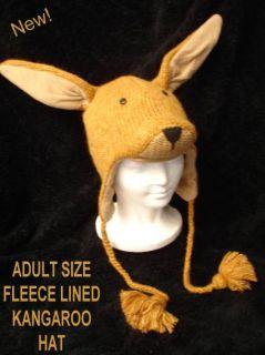 Kangaroo Hat Knit Adult Animal Fleece Lined Ski Cap Costume Toque Aussie Outback