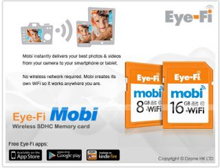 Eye Fi Mobi 16GB SDHC Class 10 WiFi Wireless Memory Card Support iOS Android
