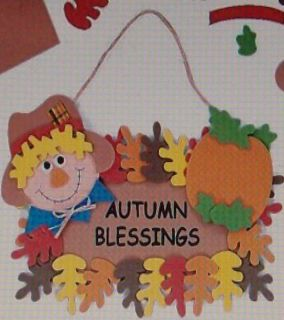 Foam Craft Kit Autumn Blessings Wall Hanging Scarecrow Pumpkin Leaves
