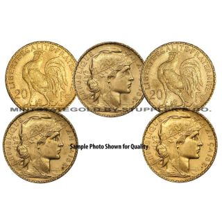 Lot of 5 French 20 Franc Roosters Gold Coins Fractional World Bullion France