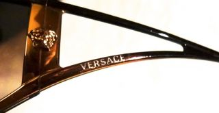 Versace Black Gold Wrap Sunglasses Mod 2040 Brown Gradient Lens Nice