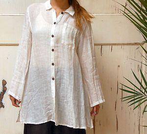 Kleen Flax Linen Long A Line Big Shirt Pocket Tunic 2X 2X 3X White Gauze