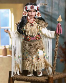 "Native American Indian Young Girl in Faux Buckskin Porcelain Doll Nadie 18""H"