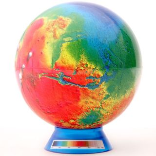 "Watanabe Teaching Tools ""Mini Mars Matter"" Clear Blue Stand Terrestrial Globe"