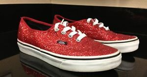 Vans Womens Authentic Shiny Glitter Red Trainers Classic Womens Shoe 7