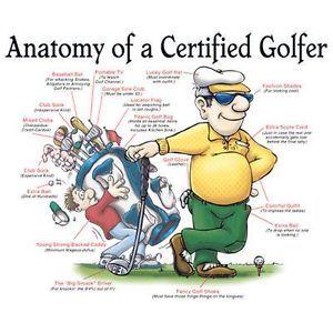 Anatomy of A Certified Golfer Man Funny Golf Humor Cartoon White T Shirt
