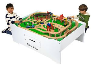 Train Set Activity Table Puzzle Race Car Toy Storage Kids Play Room Furniture
