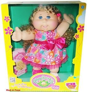 "Cabbage Patch Kids 14"" Doll Party Girl with Curly Blonde Hair Blue Eyes"