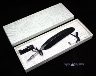 Large Black Italian Feather Quill Pen and Ink Set
