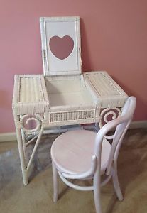 Girls Childs White Wicker Vanity Dressing Table with Mirror Bentwood Chair