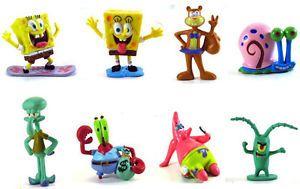 Spongebob Squarepants 8 Cartoon Children TV Show Character Figures Gift Toy Set