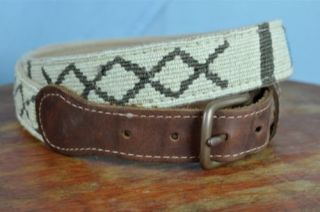 A Tail We Could Wag Western Thin Men's Belt Sz 38 Cloth Leather Sante FE
