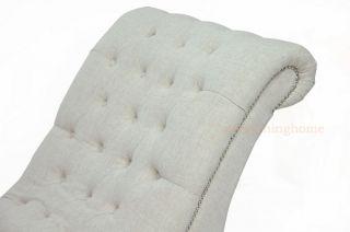 Beige Linen Fabric Modern Victorian Tufted Lounge Chaise Sofa Chair Designer New