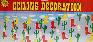 Cowboy Boots cacti Hanging Ceiling Decorations Western Party Supplies
