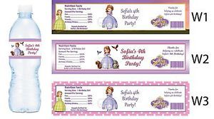 Princess Sofia The First Water Bottle Labels Birthday Party Favors Supplies