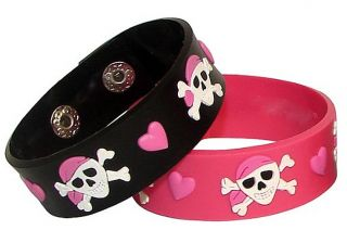 1 PK 12 Pink Pirate Girl Jolly Roger Party Bracelets
