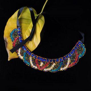 New Anthropologie Peter Pan Bead Collar Ribbon Statement Bib Choker Necklace 4