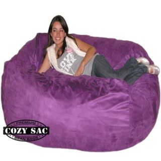 6' Cozy Sac Chair Purple Suede Bean Bag Love Seat Sack