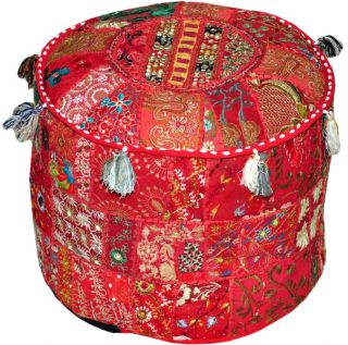 "18"" Red Ottoman Pouf Stool Chair Round Vintage Handcrafted Bohemain India"