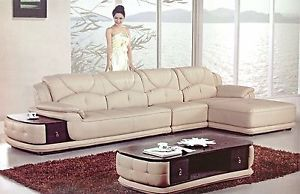 Modern Euro Tan Leather Sectional Sofa Chaise Chair Coffee End Table Set