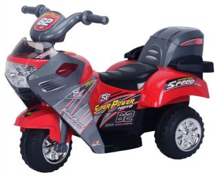 Sporty Hot Red 6V Battery Powered Kids Ride on Car Wheels Motorcycle Bike Music