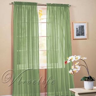 "2 Light Green Sheer Voile Window Panel Curtain Drape Treatment Scarf 60""X84"""