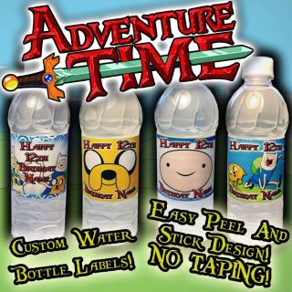 Adventure Time Water Bottle Labels Supplies Favors Bar Hershey Birthday Gifts